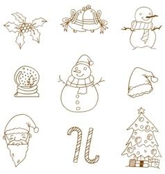Flat christmas doodles art vector