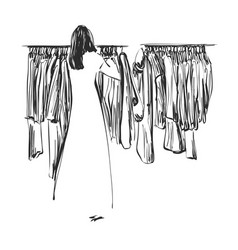 hand drawn wardrobe sketch clothes on the hangers vector image vector image
