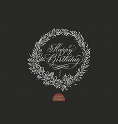 Happy birthday card with floral background artwork vector