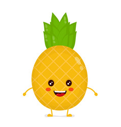 happy cute smiling funny pineapple vector image