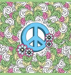 Hippie emblem symbol with ornamental design vector