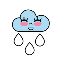 Kawaii nice happy cloud raining vector