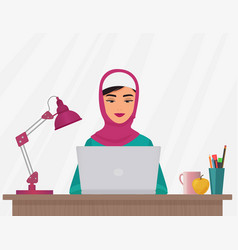 muslim business pretty woman in traditional vector image