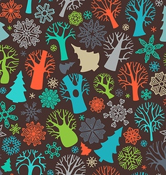 Seamless festive colorful forest pattern vector