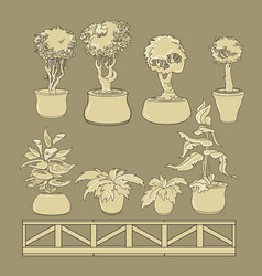Set of doodle house plants in ceramic pots vector