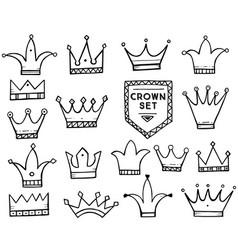 set of hand drawn cartoon crowns vector image