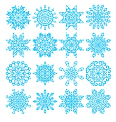 Set of sixteen snowflakes vector image
