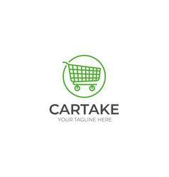 Shopping cart logo template vector