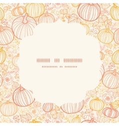 thanksgiving line art pumkins circle frame vector image