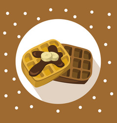 Waffles chocolate breakfast icon flat retro vector