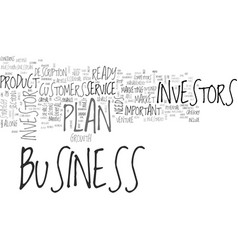 what is an investor ready business plan text word vector image vector image