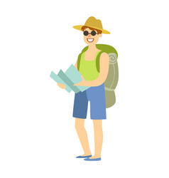 young man standing with tourist backpack and vector image vector image