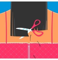 Scissors cut hair Back Girls vector image