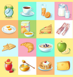 Colorful traditional breakfast elements collection vector