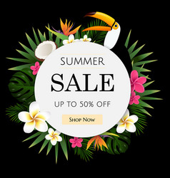 Summer sale tropical banner vector