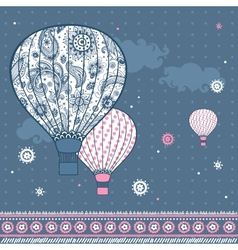 Vintage with air balloons vector image