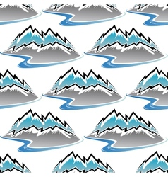 Seamless pattern of winter mountains and streams vector