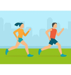Man and woman running marathon vector