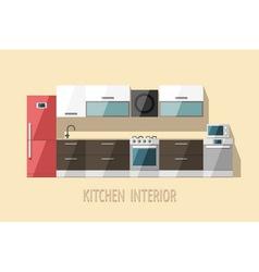 Kitchen interior modern trendy design vector