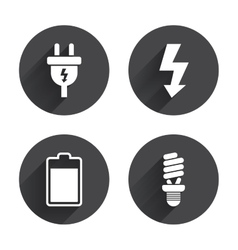 Electric plug sign lamp and battery vector