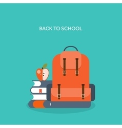 Flat school backpack study vector