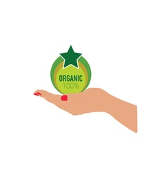 Organic icon in woman hand vector