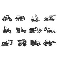 Symbols of construction machines vector