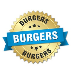 Burgers 3d gold badge with blue ribbon vector