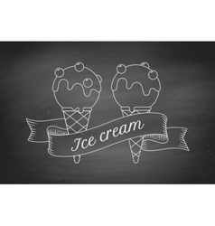 Ice cream scoop in cones and vintage engraving vector