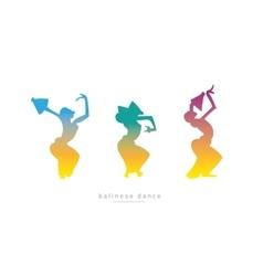 Three girls dancing Balinese dance vector image