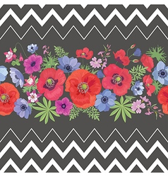 Beautiful Flower Seamless Pattern with Strips vector image