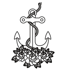 anchor tattoo isolated icon design vector image vector image