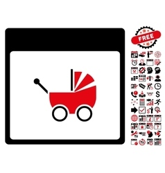 Baby carriage calendar page flat icon with vector