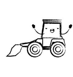 bulldozer flat icon monochrome cartoon blurred vector image vector image