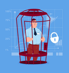 Business man in cage prisoner financial problem vector