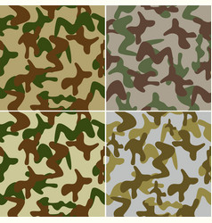 Camouflage seamless colorful background set vector