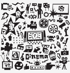 cinema icons set vector image vector image