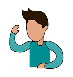 Color image cartoon faceless man with t-shirt and vector