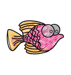 Color pencil drawing of small fish with big eyes vector