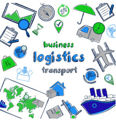 colored hand drawn business logistic concept vector image vector image