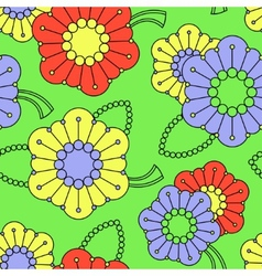Colorful pattern with abstract flowers vector image