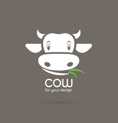 cow face with grass on brown background farm vector image vector image