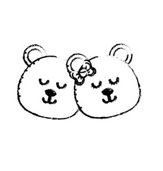 Figure cute animal couple bear head together vector
