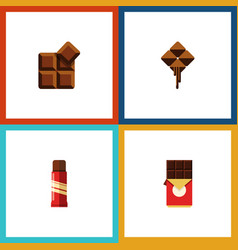 Flat icon sweet set of chocolate bar cocoa vector