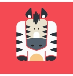 Flat square icon of a cute zebra vector image