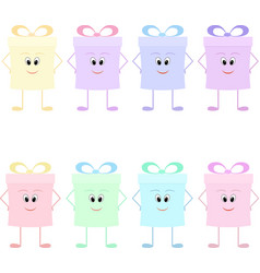 Funny gift boxes characters with bows vector