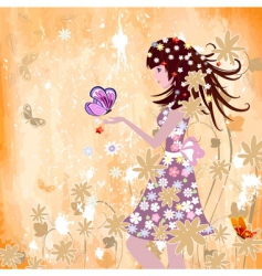 girl on grunge background vector image vector image