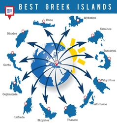 greek islands map vector image vector image