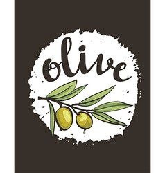 hand drawn olive label vector image vector image