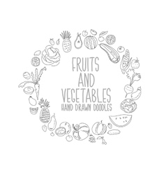 Hand drawn vegetables doodle sketch on white vector